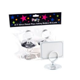 24 Units of Place Setting Holder W/card 4ct Silver Plastic - Invitations & Cards