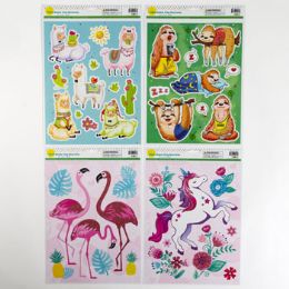 96 Units of Window Cling 4asst Popular Theme - Stickers