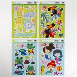 96 Units of Window Cling Animal Fun 4ast - Stickers