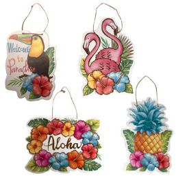 24 Units of Luau Party Hanging Plaque - Party Novelties