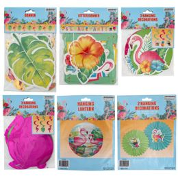 48 Units of Luau Hanging Decor 6ast - Hanging Decorations & Cut Out