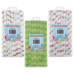 48 Units of Straw Paper Summer Print 3ast - Straws and Stirrers