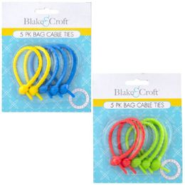 48 Units of Bag Cable Ties 5pk Food Grade Tpee Multipurpose Reusable - Cables