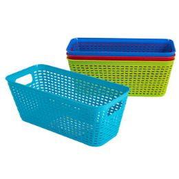 48 Units of Basket Long Rect 4 Colors In Pdq - Baskets