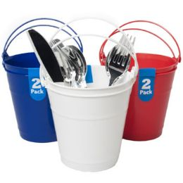 24 Units of Bucket 2pk Plastic W/handle - Buckets & Basins