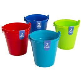 48 Units of Bucket 2pk Plastic W/handle - Buckets & Basins