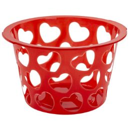 36 Units of Basket Round W/heart Cutouts - Baskets