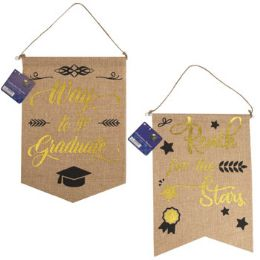36 Units of Graduation Banner Faux Burlap 2ast Hotstamp Print 14x10in/ht - Party Banners