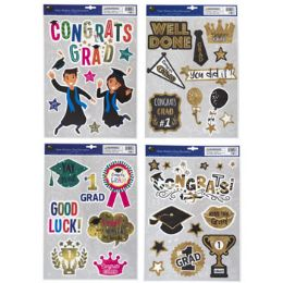96 Units of Window Cling Graduation 4asst - Stickers