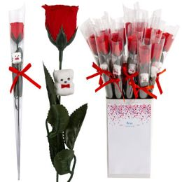 18 Units of Rose Red W/gltr 12in W/mini Bear - Artificial Flowers