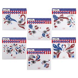 48 Units of Face Art Sequin Decor Patriotic - 4th Of July