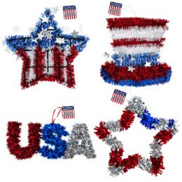 24 Units of Tinsel Decor Patriotic 4ast Stars/hat/usa Ea/ht - 4th Of July