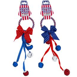 36 Units of Door Hanger Patriotic W/5 Bells 2ast W/bow Apx 11.5in/barbellhdr - 4th Of July
