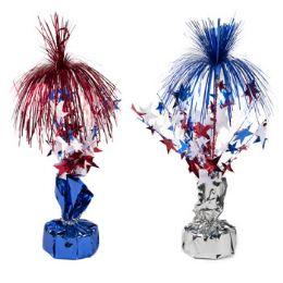 24 Units of Balloon Weight/tinsel Centerpice Patriotic 12in 2ast Blue/silver - Seasonal Items