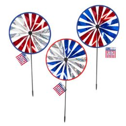 24 Units of Wind Spinner Yard Stake Patriot - 4th Of July