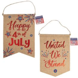 36 Units of Banner Patriotic Faux Burlap W/hotstamp Print 2ast 14x10in ht - 4th Of July