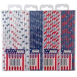 48 Units of Straws Paper 14ct Patriotic Hotstamp 4ast Designs Pb/label - 4th Of July