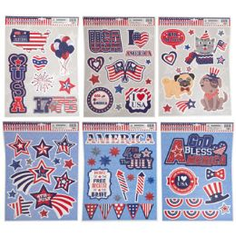 96 Units of Window Cling Patriotic 6ast - Stickers
