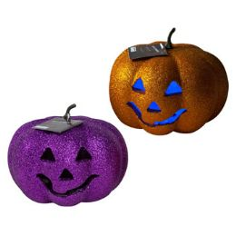24 Units of Pumpkin 6.69in Glitter LighT-up - Halloween & Thanksgiving