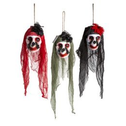 24 Units of Skull Hanging Head Decor W/veil - Hanging Decorations & Cut Out
