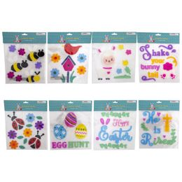 96 Units of Gel Sticker Clings Easter/spring - Easter