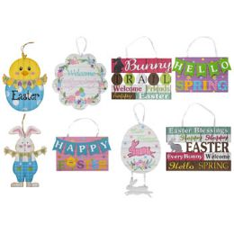 48 Units of Wall Plaque Easter Mdf 8ast - Wall Decor