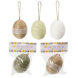 36 Units of Egg Decor 3.9in Twine/paper - Hanging Decorations & Cut Out