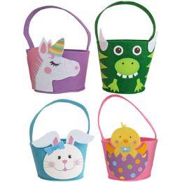 24 Units of Easter Basket Felt W/handle - Baskets