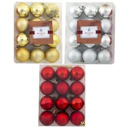96 Units of Ornament Ball 12pk 1.57in - Christmas Ornament