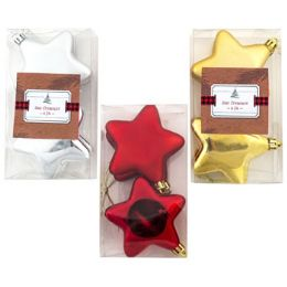 96 Units of Ornament Star 4pk 2.75in 3ast - Christmas Ornament