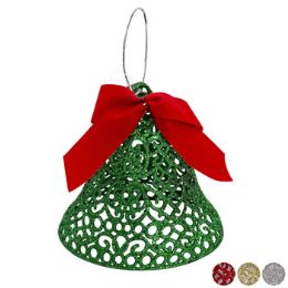 36 Units of Bell Glittered W/bow 6in 4asst - Christmas Ornament