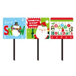 48 Units of Yard Sign Christmas 3asst - Christmas Decorations