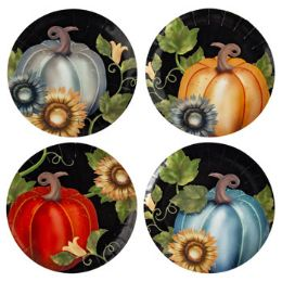 72 Units of Harvest Dessert Plate 8in 4ast - Halloween & Thanksgiving