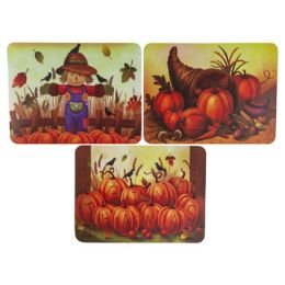 36 Units of Placemat Plastic 3ast Harvest - Halloween & Thanksgiving