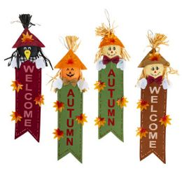 24 Units of Scarecrow Welcome Banner 4ast - Garden Decor