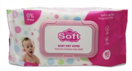 24 Units of BABY WIPE 80 CT W/PINK LIDS - Baby Beauty & Care Items