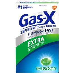 12 Units of GaS-X Extra Strength 10 Ct Soft Gels - Pain and Allergy Relief