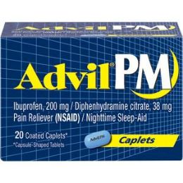 12 Units of Advil Pm 20's Caplets - Pain and Allergy Relief