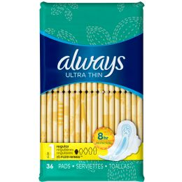 6 Units of Always Ultra Thin Regular W/wings 36 ct - Personal Care Items