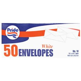 36 Units of Pride White Envelope 50 Ct 4 1/8 X 9 1/2 Inches - Store