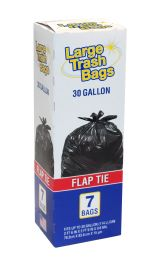 12 Units of Large Trash Bags 30 Gal 7 Ct Flat Tie Made In Usa - Garbage & Storage Bags