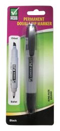48 Units of PERMANENT MARKER DOUBLE TIP KING SIZE 2PK BLACK - Markers