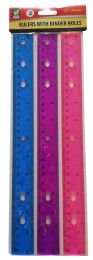 48 Units of PLASTIC RULER 3PK W/BINDER HOLES ASTD COLORS - Rulers