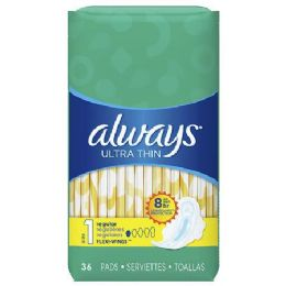 6 Units of Always Ultra Thin Regular Unscented Wings 36ct - Personal Care Items