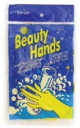 144 Units of B.h. Latex Glove Small Yellow Flock Lined - Kitchen Gloves