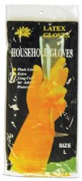 120 Units of LATEX HOUSEHOLD GLOVES LARGE FLOCK LINED EXTRA LONG - Kitchen Gloves