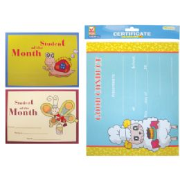 72 Units of STUDENT OF THE MONTH CERTIFICATE 15 SHEET 8.5 X 11 INCH ASSORTED DESIGNS - Poster & Foam Boards
