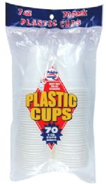 36 Units of PRIDE PLASTIC CUP 70 CT 7 OZ WHITE - Disposable Cups