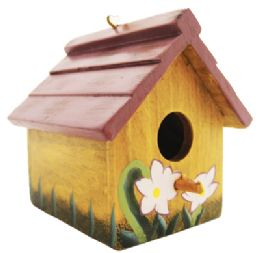 24 Units of Hanging Bird House 3.5 Inch Tall Wood - Store