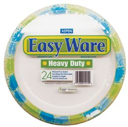 12 Units of EASY WARE PRINT DESIGN 10.25 24CT HEAVY DUTY PAPER PLATE MICROWAVE SAFEGREASE RESISTANT - Kitchen Gear